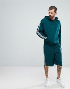 Спортивный костюм из худи и шортов в стиле oversize с меланжевыми вставками ASOS - Зеленый