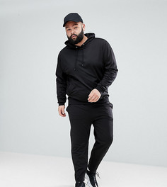 Черный спортивный костюм с худи и джоггерами скинни ASOS PLUS - Черный