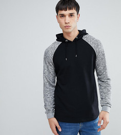 Черный худи с контрастными рукавами реглан ASOS TALL - Черный
