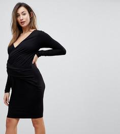 Облегающее платье с запахом и сборками ASOS MATERNITY - Черный