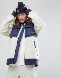 Белая куртка из искусственного меха с темно-синими вставками Burton  Snowboards Bower - Белый 294d81ccdf5