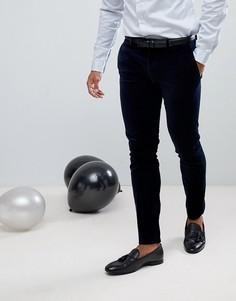 Темно-синие строгие бархатные брюки скинни River Island - Темно-синий