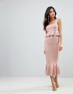 Облегающее платье миди с квадратным вырезом и баской ASOS - Розовый