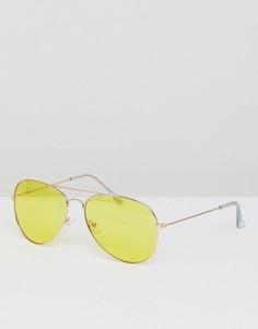 Желтые солнцезащитные очки-авиаторы Jeepers Peepers - Желтый