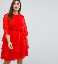 Блестящее короткое приталенное платье с оборками Junarose - Красный