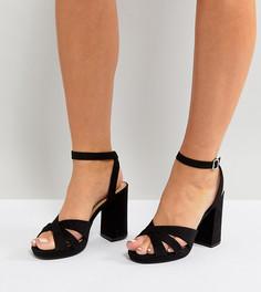 Босоножки для широкой стопы из искусственной замши на платформе New Look - Черный