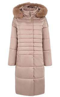 Утепленное пальто с мехом песца Elema