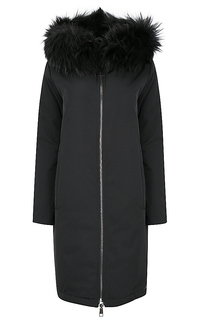 Утепленное двустороннее пальто с отделкой мехом енота Violanti