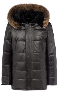 Кожаная куртка с подкладкой из овчины с отделкой мехом енота Jorg Weber