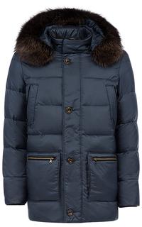 Стеганая куртка с отделкой натуральной кожей и мехом енота Vittorio Emanuele