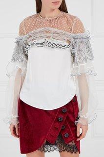 Белая блузка с кружевными воланами Self Portrait