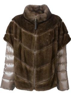 меховая куртка с дутыми рукавами  Liska