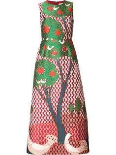 расклешенное платье с рисунком в форме дерева Red Valentino
