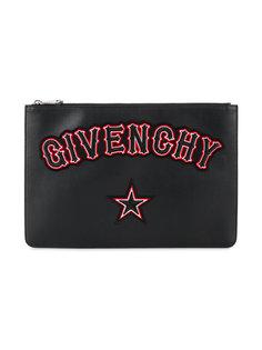 клатч с вышитым логотипом Givenchy