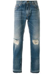 прямые джинсы с протертостями Dolce & Gabbana