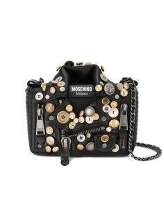 сумка на плечо в стиле байкерской куртки с декоративными пуговицами Moschino