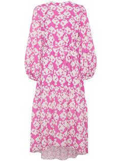 асимметричное платье с рукавами-фонарик с цветочным принтом Borgo De Nor