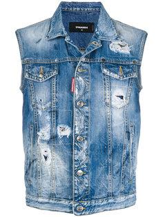 джинсовая жилетка с потертой отделкой Dsquared2