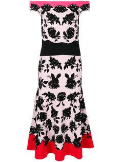 платье-миди с открытыми плечами и цветочным принтом Alexander McQueen