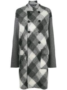 двубортное пальто с начесом в клетку  Sansovino 6