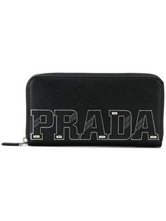 континентальный кошелек с бляшкой с логотипом  Prada
