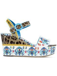босоножки на платформе с комбинированным принтом Dolce & Gabbana