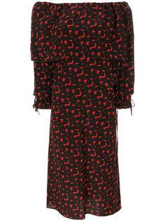 платье с открытыми плечами и абстрактным узором Marni