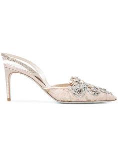декорированные туфли с ремешком на пятке  René Caovilla