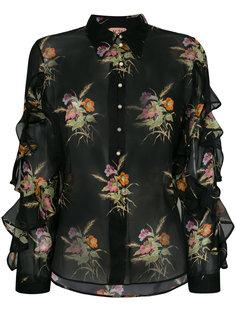 прозрачная блузка с рюшами и цветочным принтом Nº21