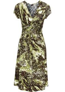 Трикотажное платье с драпировкой под грудью (коричневый/оливковый) Bonprix