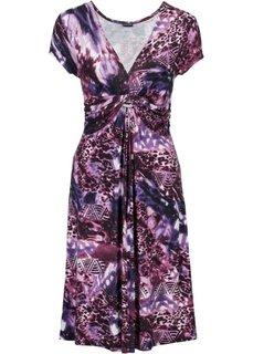 Трикотажное платье с драпировкой под грудью (коричневый/лиловый) Bonprix