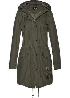 Куртка-парка с вышивкой (темно-оливковый) Bonprix