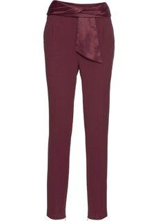 Брюки из жоржета с широким поясом (темно-бордовый) Bonprix
