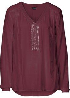 Блузка с пайетками (темно-бордовый) Bonprix
