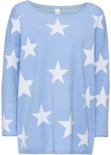 Вязаный пуловер (синий жемчуг/белый) Bonprix