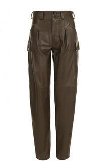 Однотонные кожаные брюки с защипами Tom Ford