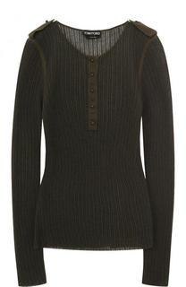 Пуловер фактурной вязки из смеси кашемира и шелка Tom Ford