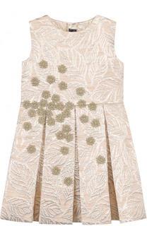 Жаккардовое мини-платье с бантом и вышивкой Oscar de la Renta