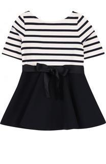 Мини-платье джерси с бантом на поясе Polo Ralph Lauren