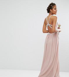 Платье макси с камнями на бретельках TFNC Tall Wedding - Розовый