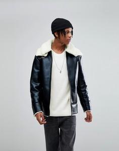 Черная oversize-куртка с искусственной цигейкой ASOS - Черный