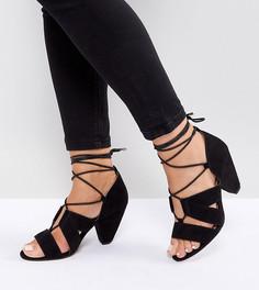 Босоножки на каблуке со шнуровкой для широкой стопы ASOS TALI - Черный
