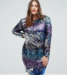 Платье мини с подплечниками, длинными рукавами и пайетками TFNC Plus - Мульти