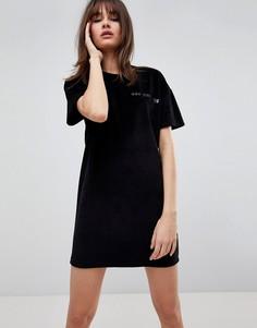 Велюровое платье с принтом Uncivilised - Черный