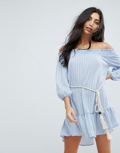 Пляжное платье в полоску с открытыми плечами Surf Gypsy - Мульти