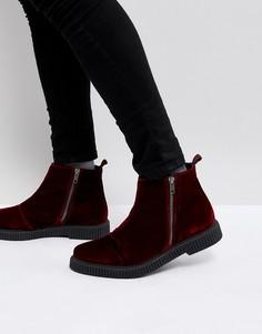 Бордовые бархатные ботинки челси на толстой подошве ASOS - Красный