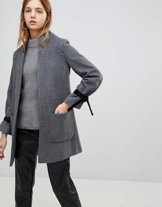 Пальто из смешанной шерсти с завязками на рукавах Helene Berman - Серый
