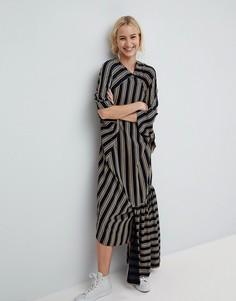 Платье в полоску с оборкой по краю ASOS WHITE - Темно-синий