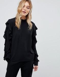 Блузка с оборками сбоку Y.A.S - Черный