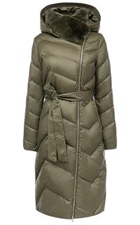 Пальто на искусственном пуху с отделкой мехом кролика La Reine Blanche